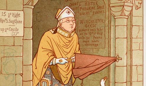 Illustration of a clergyman venturing outside with an umbrella.
