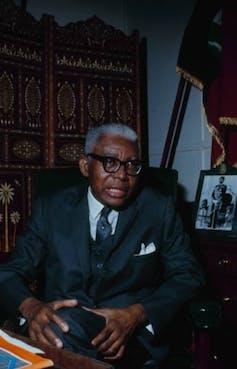 Portrait photograph of Haitian dictator Francois 'Papa Doc' Duvalier.