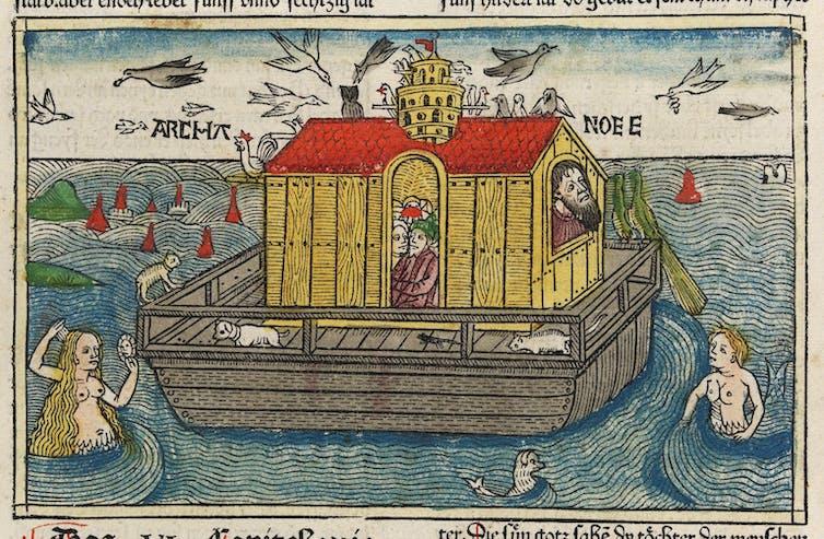 Woodcut of Noah's Ark in the water.