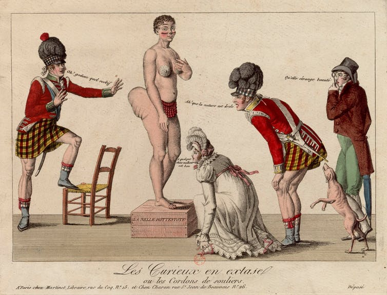 A drawing depicts Sarah Baartman being ogled and mocked by onlookers.