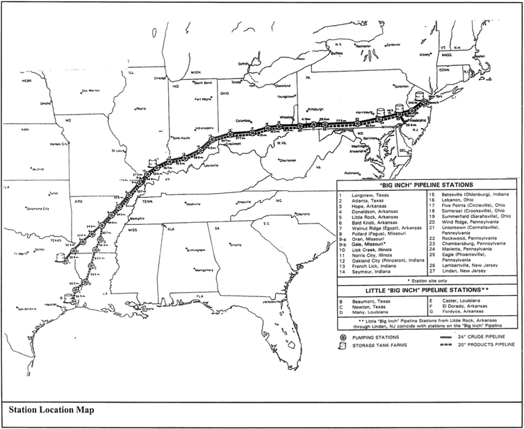 Carte montrant les pipelines du Texas à la côte médio-atlantique.