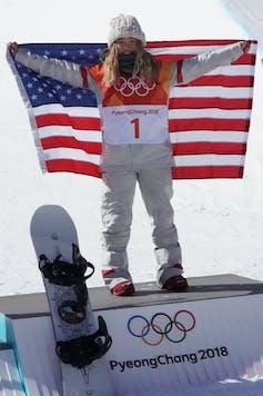 Olympic champion snowboarder Chloe Kim with US flag