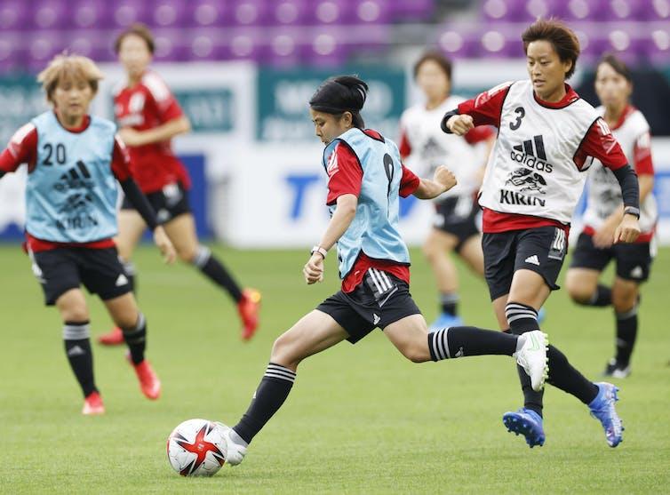 The Japanese women's football team at training.