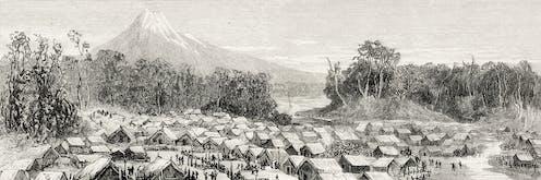 1881 illustration of Parihaka and Mt Taranaki