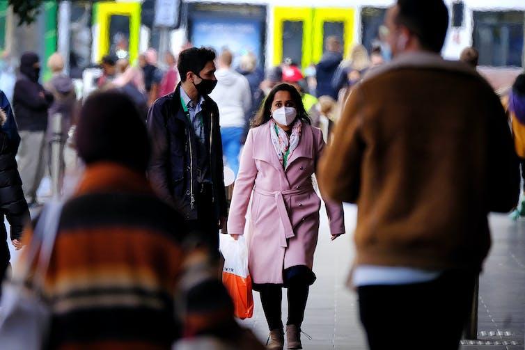 People wearing masks in Melbourne.