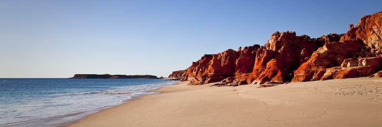 red cliffs at beach