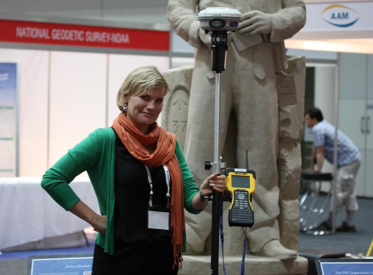 Surveyor with modern tools.