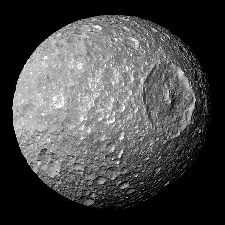 Saturn's moon Mimas, seen from the Cassini spacecraft.