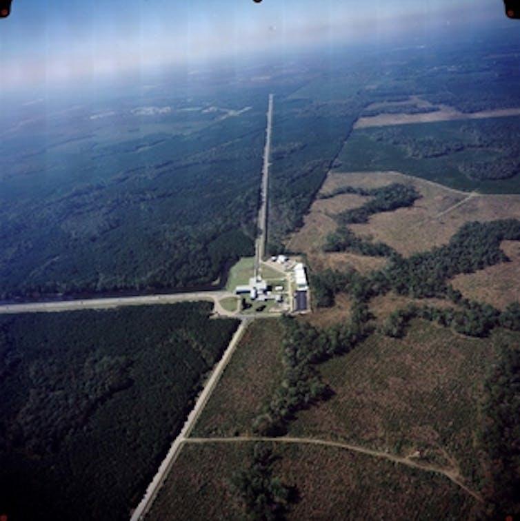 Aerial view of LIGO facility in Hanford, Washington.
