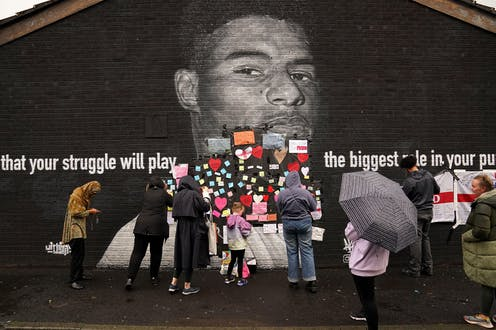 Marcus Rashford mural covered with messages of support after being defaced with racist abuse following Euros 2020