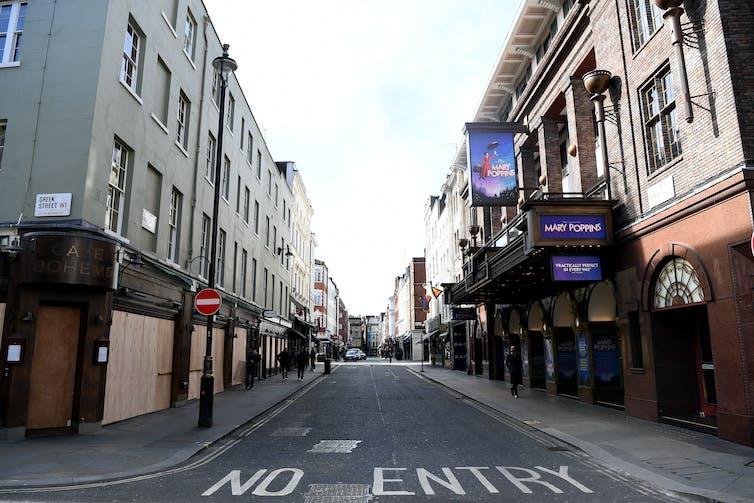 An empty street in London during full lockdown