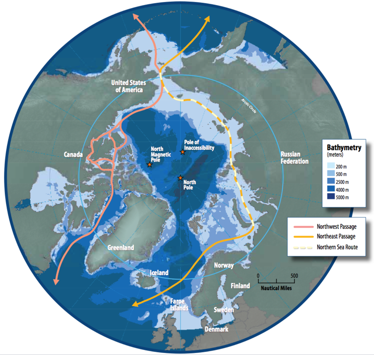 A map of the Northern Sea Route in the Arctic which will become a navigable sea passage as global warming melts the ice.