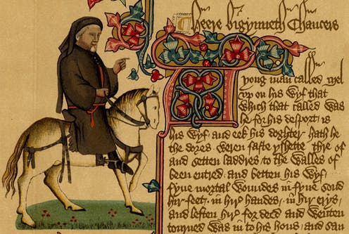 Portrait of Geoffrey Chaucer riding a horse in a manuscript of 'The Canterbury Tales'