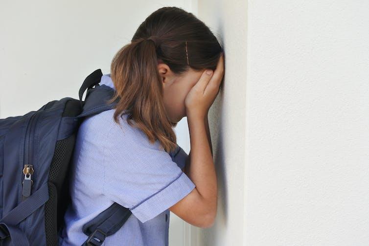 Schoolgirl wearing backpack holds hands over face