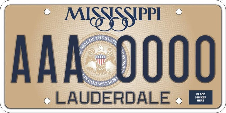 A sample license plate with 'In God We Trust' on it