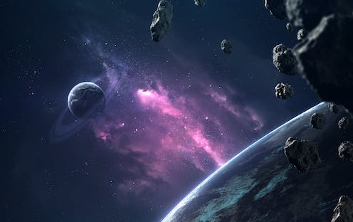 Illustration of planets and asteroids in space