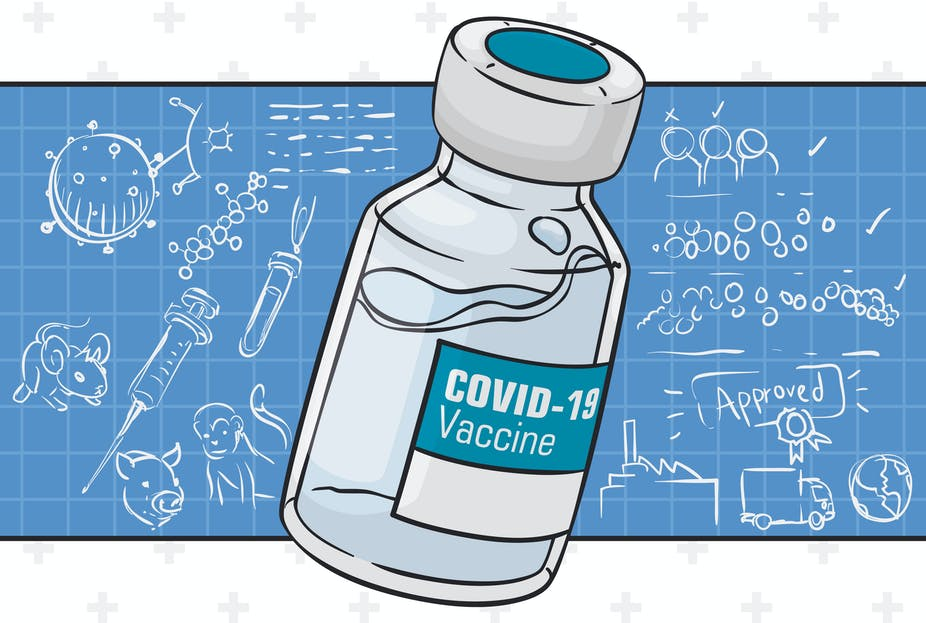 Illustration of COVID-19 vaccine bottle over a blueprint with sketches of different steps in the approval process.