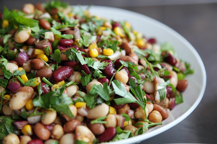 Large bowl of mixed bean salad.