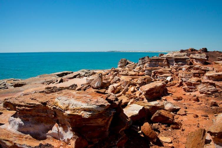 rocky red beach
