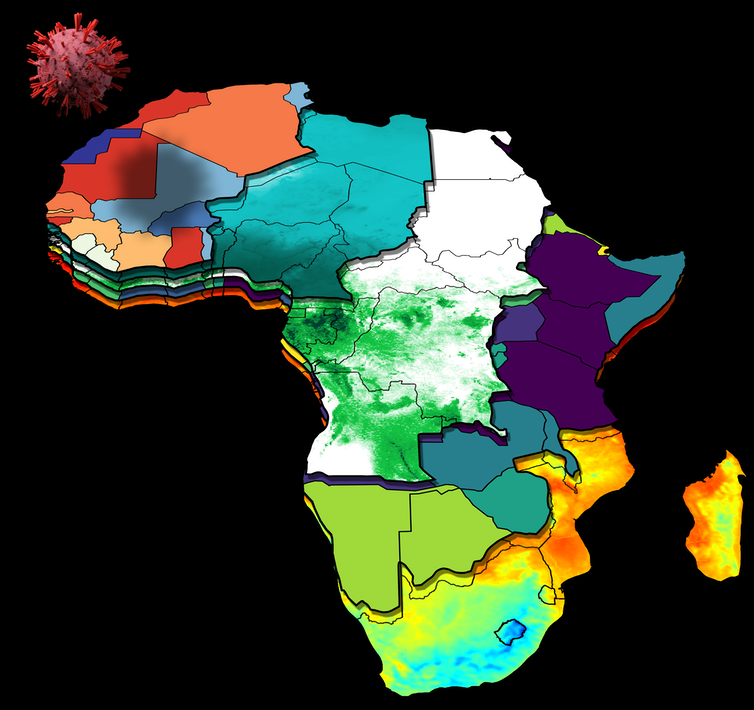 Layered map of the African continent, with layers displaying case numbers, humidity, rainfall, population, and temperature.