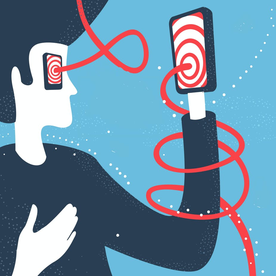 Illustration of person with a phone as their hand, the red and white swirl on the screen coming out as a red thread that wraps around their arm and connects to the identical phone where their eye would be