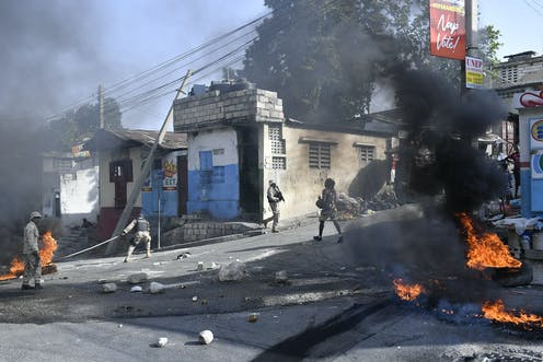 Tires are burning in the streets of Haiti.