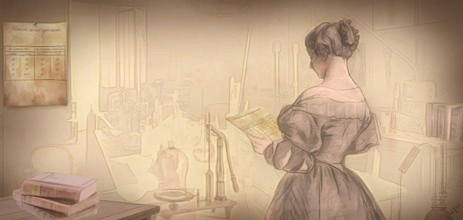 Illustration of a female scientist in her lab