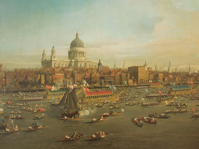 Old painting of river with ships and cathedral in background