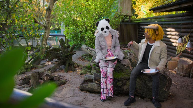 A woman with a panda head and a man with a bull's head feed meerkats