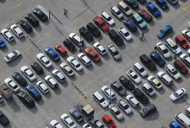 Cars lined up in a Sydney carpark.