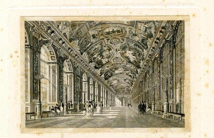 interior of the palace with figures walking along the gallery with murals on the ceiling, arched windows at left, mirrored panels at right, several figures seated on benches