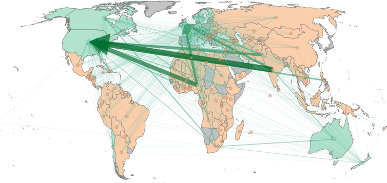 Map showing main routes of migration by doctors from poorer to richer countries.