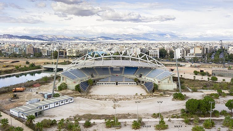 The Faliro Olympic beach volleyball centre, from the Athens 2004 Games, lies in disrepair