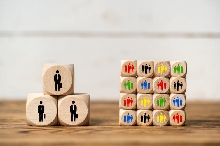 Wooden blocks representing big companies and small companies