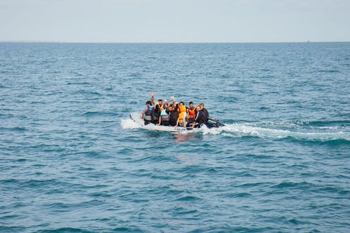 Migrants in this rigid inflatable in the English Channel
