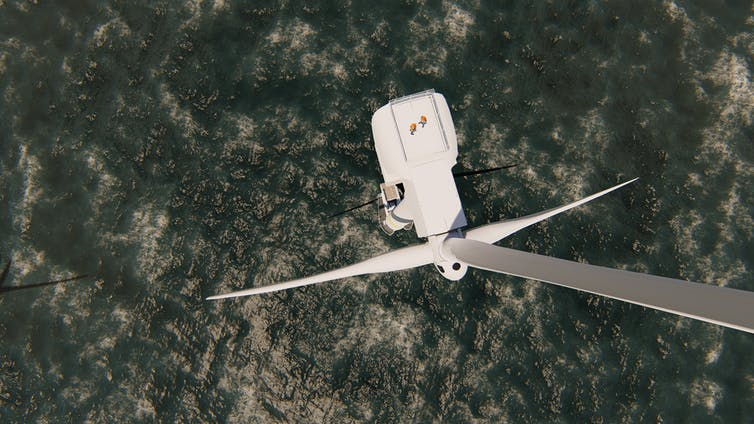 offshore wind turbine from above