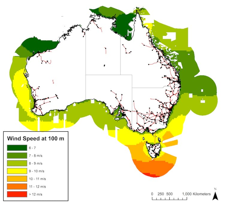 Map showing average wind speed
