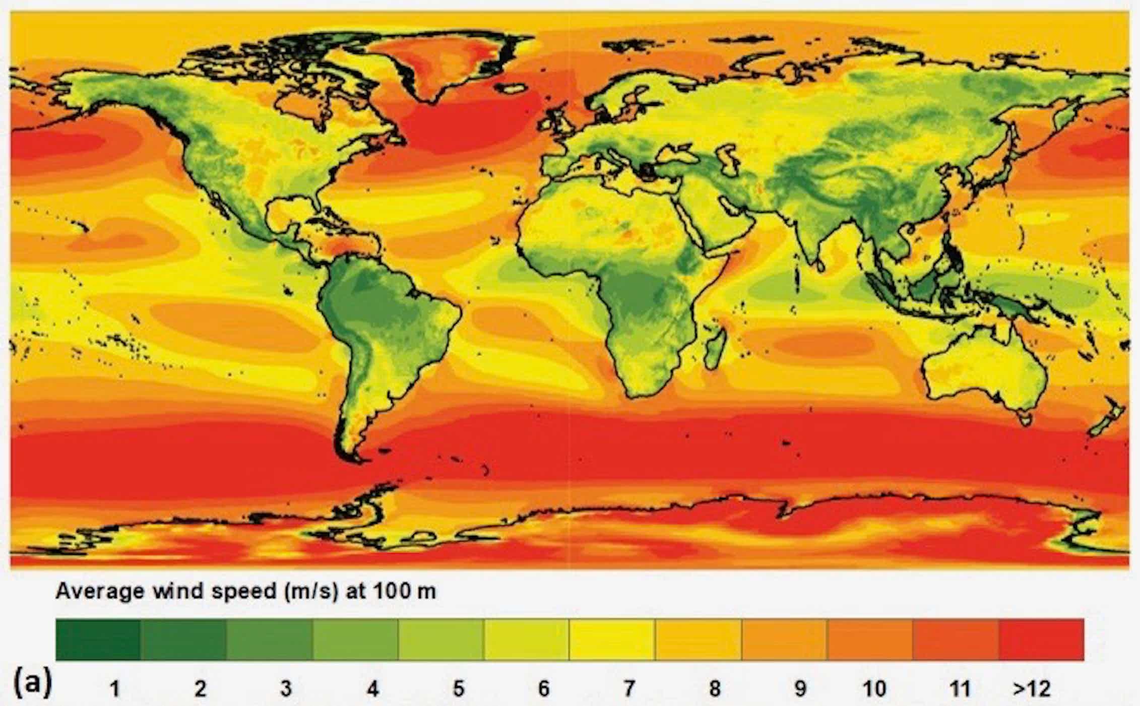 Global average wind speed
