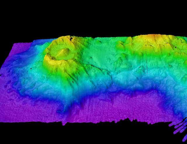 Sonar map of seabed volcanoes