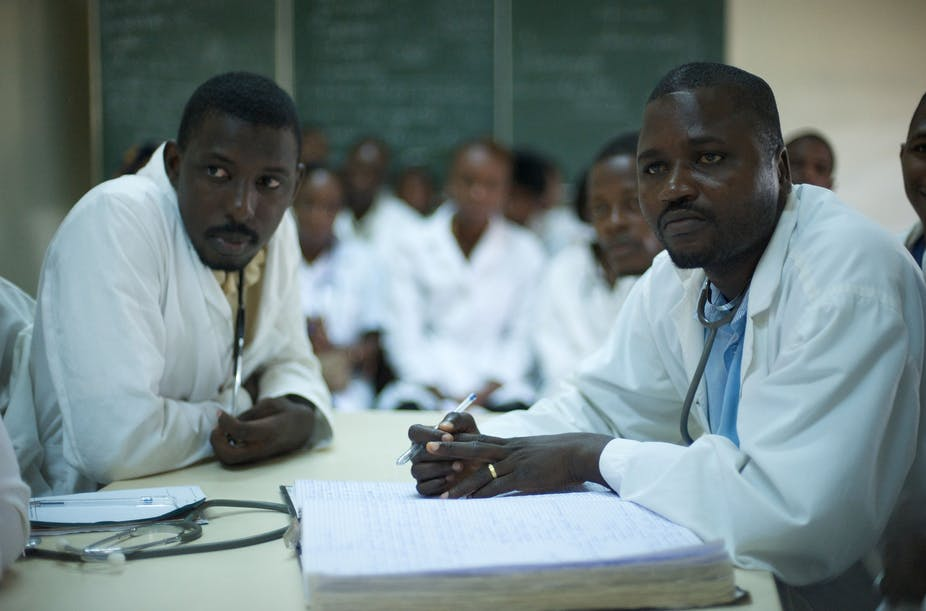 Doctors from Conakry, Guinea, in a briefing meeting.