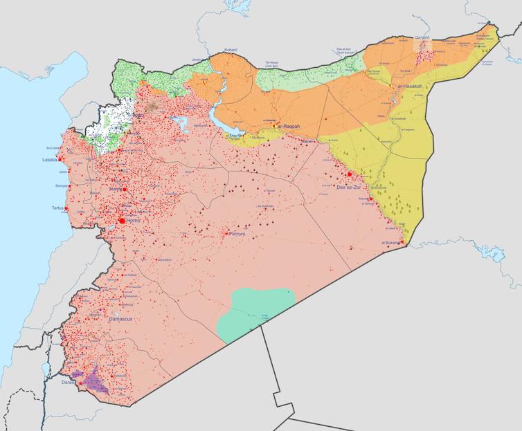 Carte de l'état du conflit en juillet 2021