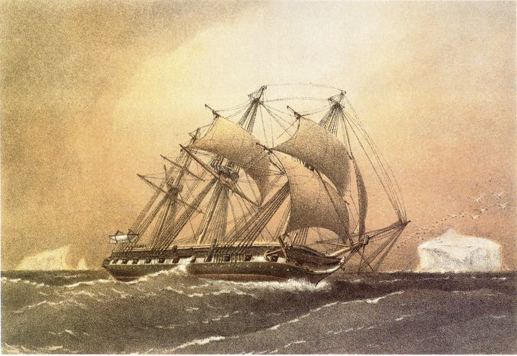 A contemporary drawing of a 19th-century research vessel.