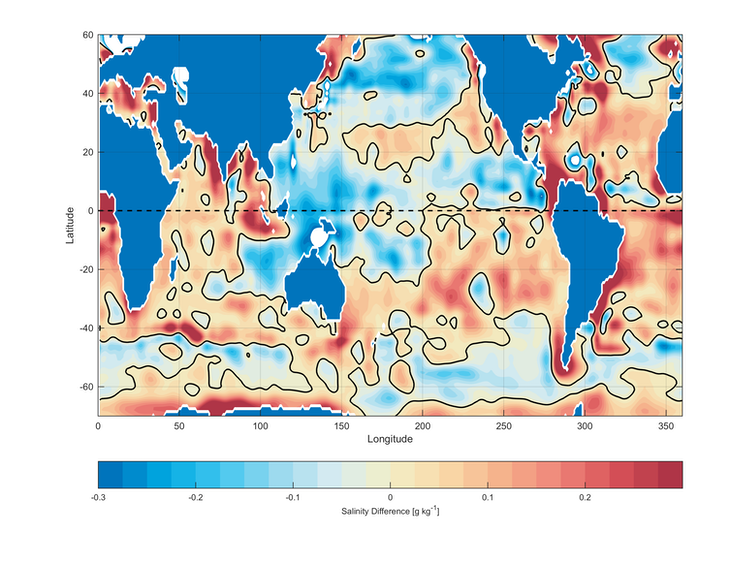 A world ocean map with rising and falling salinity levels highlighted.