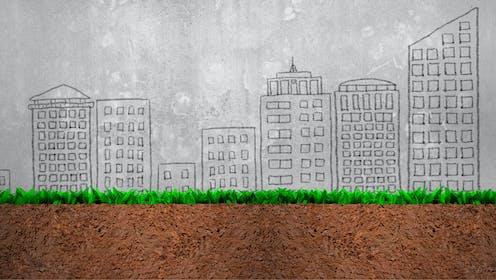 une illustration représente les trois couches, sol, plante et milieu urbain.
