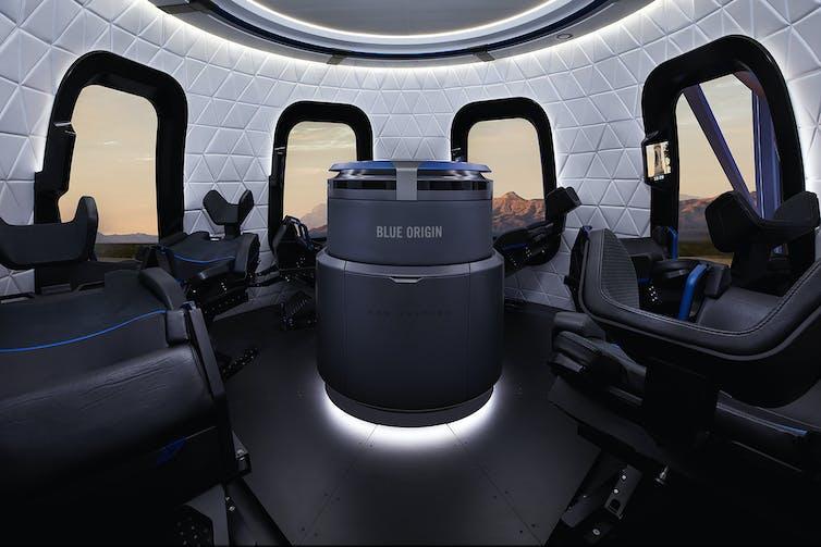 Interior of Blue Origin capsule