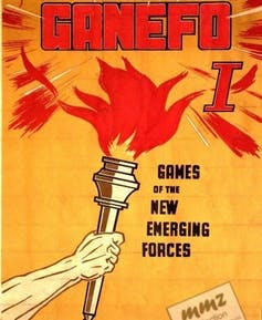 A poster showing an arm holding a torch with GAMEFO at the top of the poster.