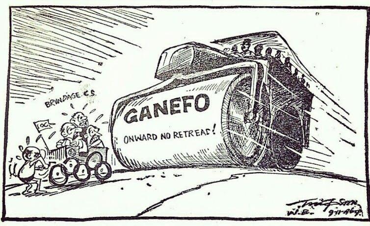 Kartun menunjukkan silinder uap mengejar anggota Komite Olimpiade Internasional.