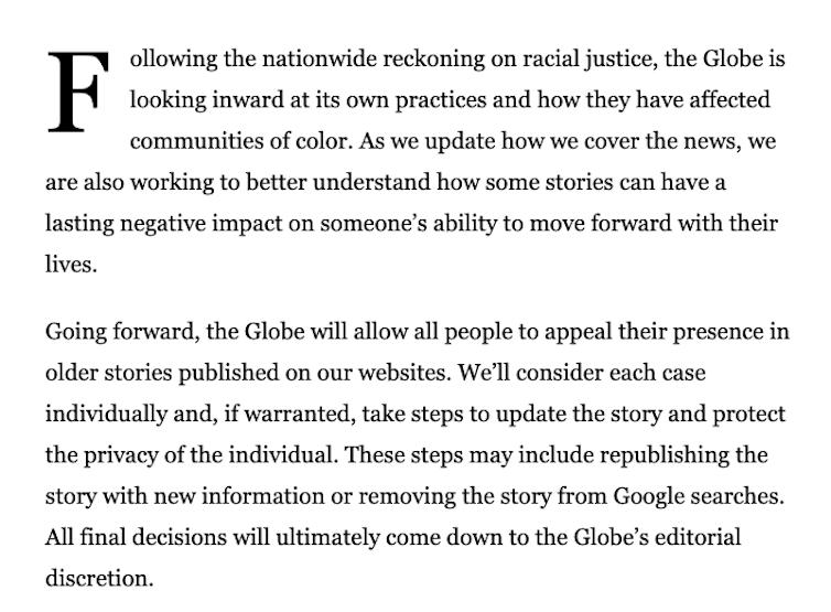 Statement by the Boston Globe about its Fresh Start Initiative