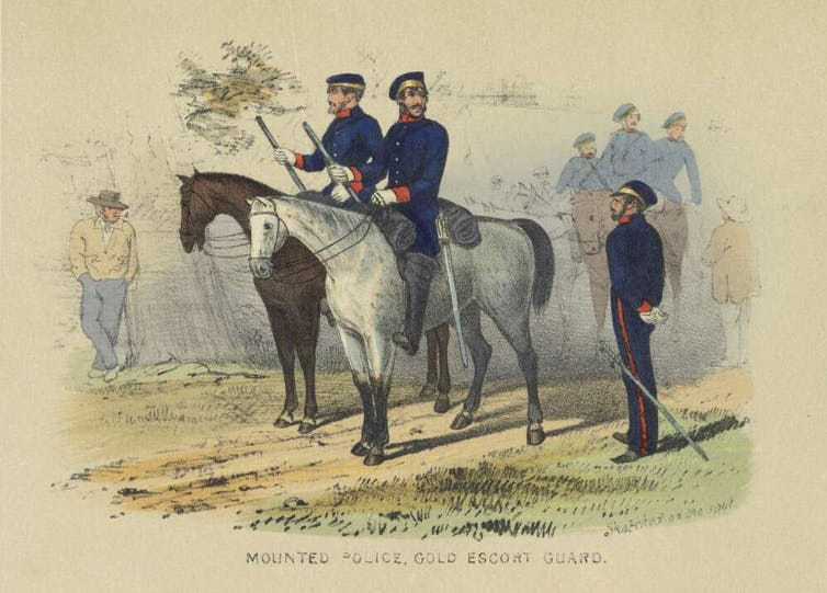Mounted police, gold escort guard/ sketched on the spot by S.T. Gill.