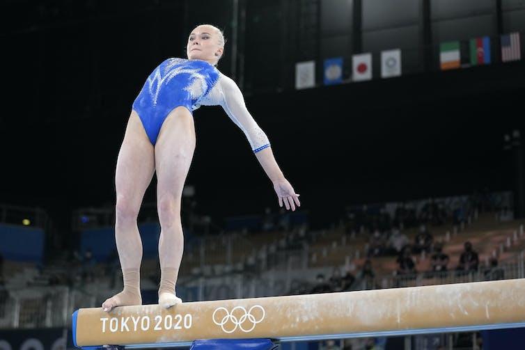 Angelina Melnikova during a beam routine